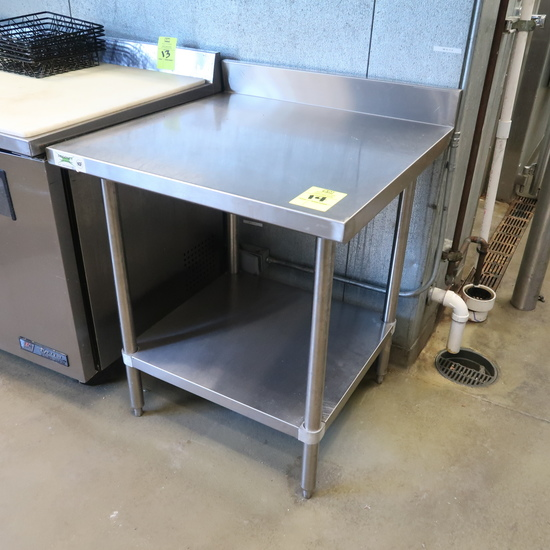 stainless table w/ backsplash & undershelf