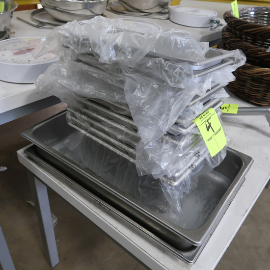 assorted stainless pans