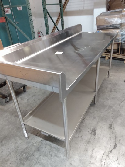 Stainless Table With Backsplash