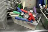 Plastic Bin W/ Assorted Kitchen Utensils