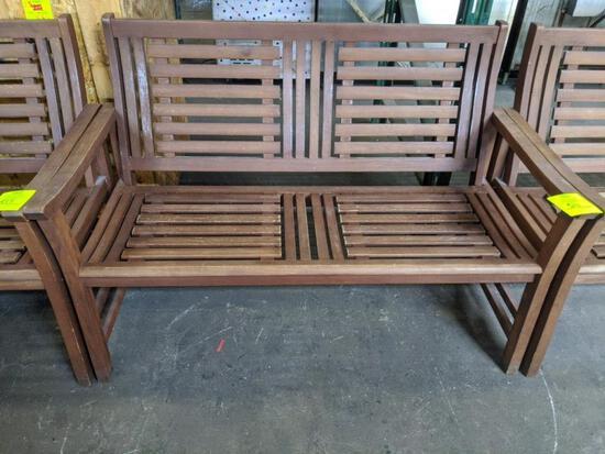 "50"" x 25"" x 34 wood bench"