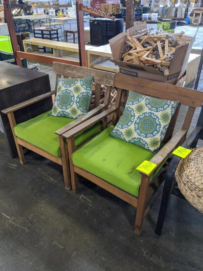 Wood chairs with cushions and throw pillows