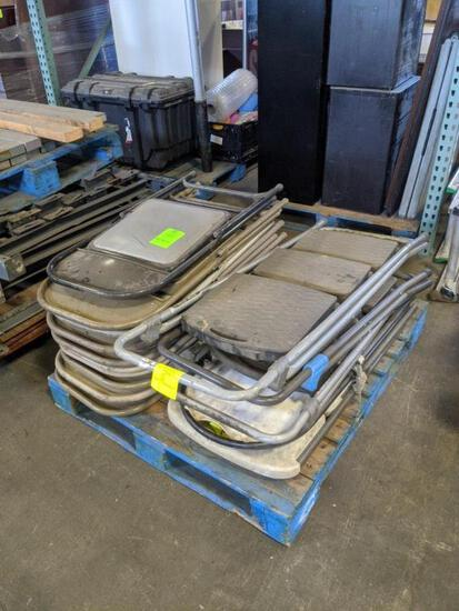 Pallet of step ladders and metal folding chairs