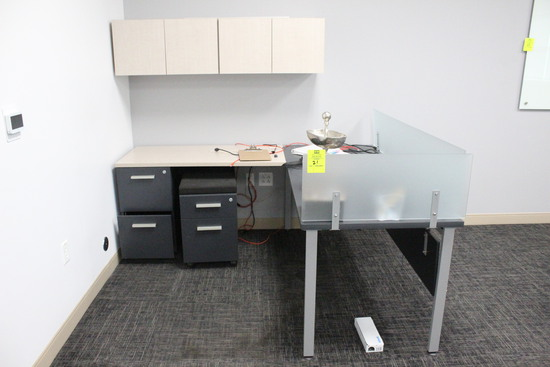 Desk W/ File Cabinets And Wall Mounted Cabinets