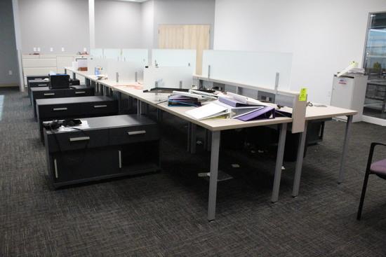 Run Of Desks W/ File Cabinets