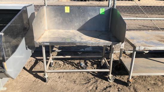 4' Stainless Steel Table On Casters W/ Backsplash