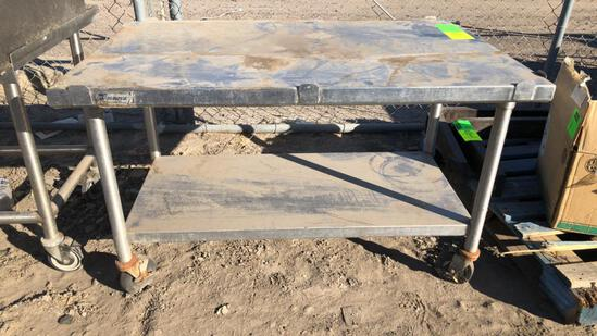 4' Stainless Steel Table On Casters