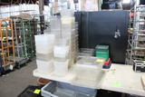Group Of Assorted Plastic Ingredient Bins And Lids