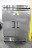True Two Door Stainless Refrigerator