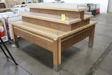 Three Tier Double-Sided Wooden Merchandising Table