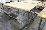 Wooden Bakery Table On Casters