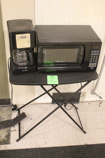 Folding Table W/ Mr. Coffee And Westinghouse Microwave