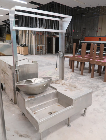 stainless soup cooking station, w/ hanging pan racks