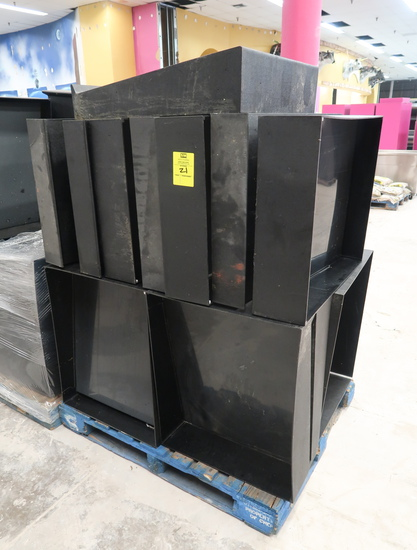 pallet of plastic produce angled risers