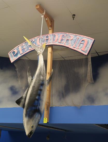 "6' hanging fiberglass fish, w/ ""PESCADERIA"" sign"