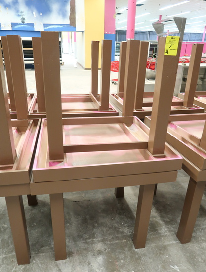 square wooden merchandising tables