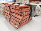 pallet of gondola shelving w/ wooden fronts, unknown brand