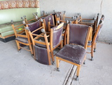 quantity of cushioned wooden chairs, w/ casters