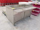 stainless iced-product merchandiser w/ tray shelf & cabinets under