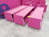 wooden case-front merchandisers, on casters