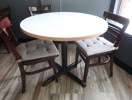 round cafe tables, w/ laminate top