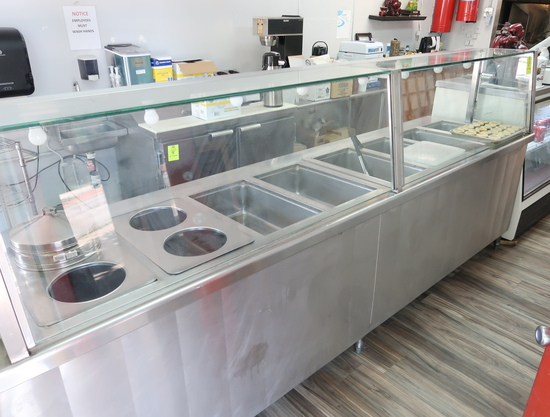 stainless hot food service counter, w/ 6) full pan wells & 4) soup wells