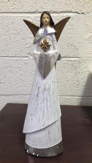 """15"""" Weathered White Angel Statues"""