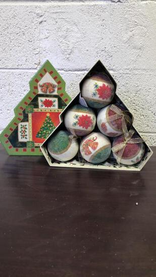 Frosted X-Mas Ornaments In Tree Shaped Box