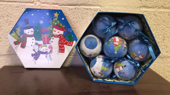 Frosted X-Mas Ornaments In Decorative Boxes