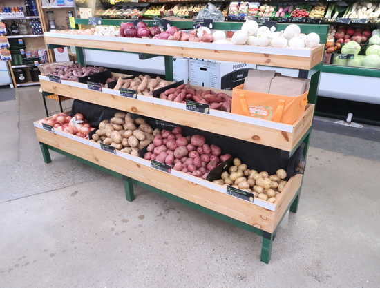3-tiered produce merchandiser, steel frame w/ wooden boxes