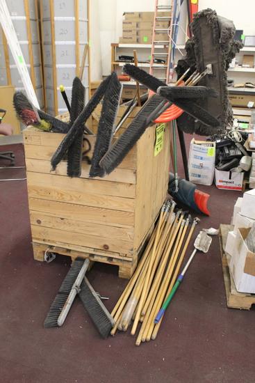 Crate Of Brooms, Mops, Mop Handles