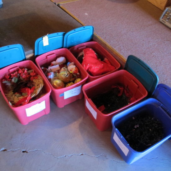 tubs of Christmas decorations