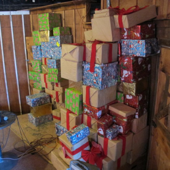 empty Christmas present boxes