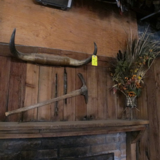 bull horns, pick & floral vase w/ arrangement