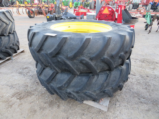 (2) 460/85R38 FIRESTONE ON JOHN DEERE STUB DISC RIMS
