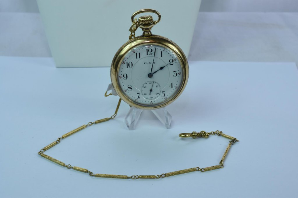 14KT GOLD CASE & 14KT GOLD FOB ELGIN POCKET WATCH