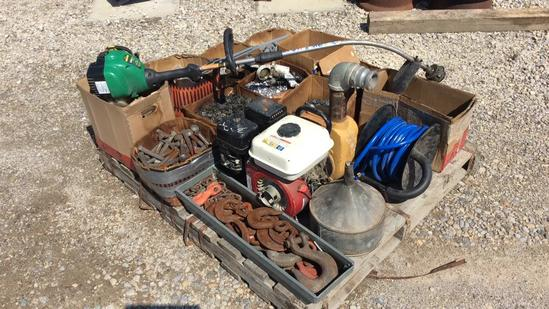 Pallet of Nuts & Bolts, Pump & String Weed Trimmer