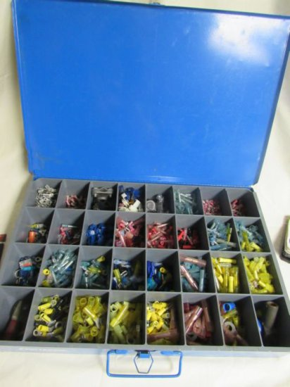 """18"""" x 12"""" metal divided assortment  box filled wire terminals 1400 plus pieces"""