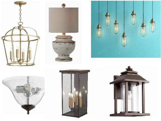 Mixed new lighting fixtures - pendants, entry, down lights, outdoor, and more