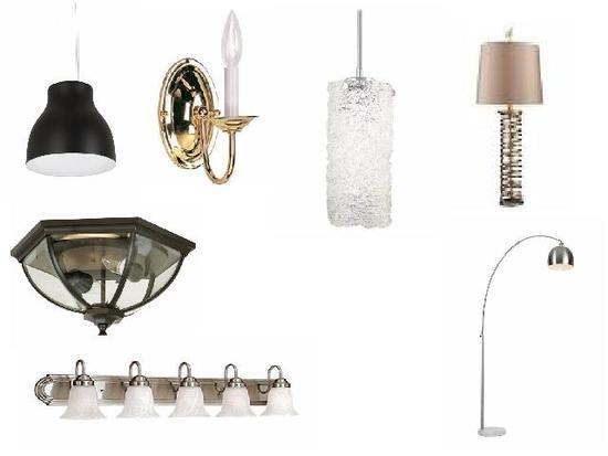 Mixed new lighting fixtures -  table & floor lamps, sconces, vanity, pendants, ceiling, wall lights