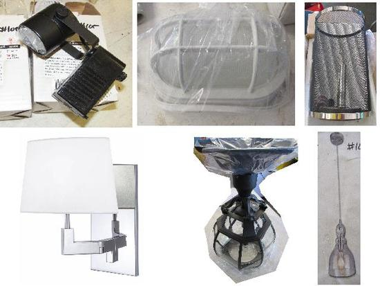 mixed new pendant lamps, sconces, wall lamps,  track lighting, ceiling fan light