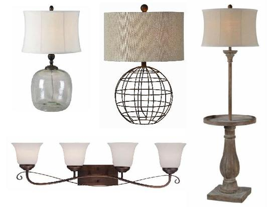 new 4 light wall sconce, (2) table lamps, (1) floor lamp in original packaging