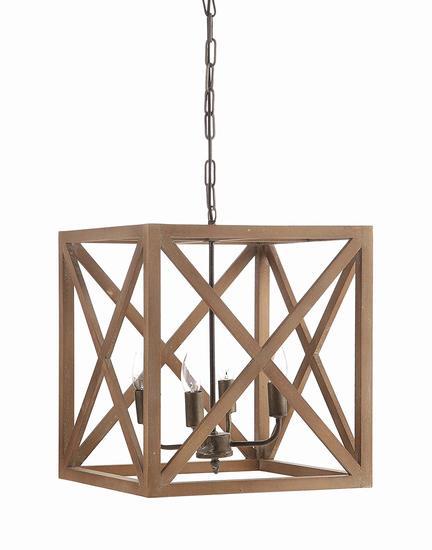 Creative metal wood chandelier DA8264 new in box