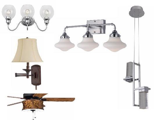 New ceiling lights, wall sconces, pendant lights, vanity fixtures, downlights, chandelier