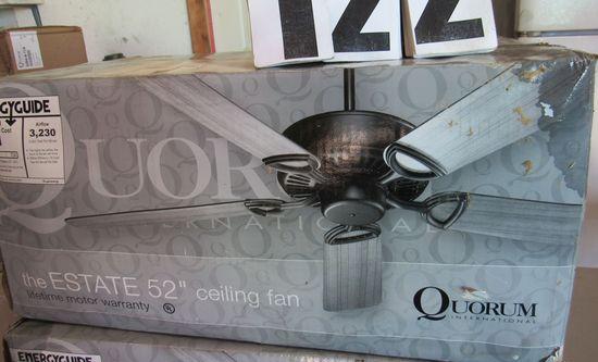 """new Quorum Estate 52"""" ceiling fans in original boxes 43525-6"""