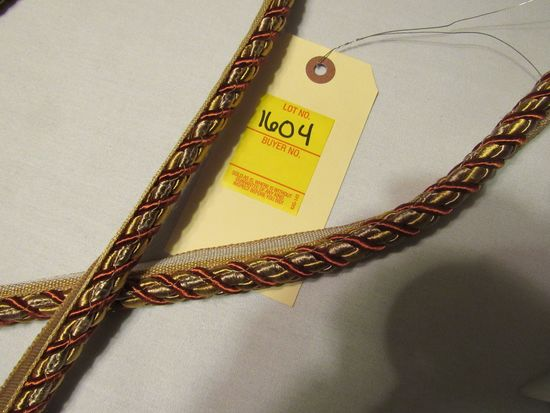 """1/2"""" fabric edging cord with tab gold and red color by the yard"""