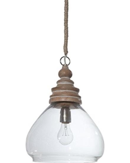 "Ceiling Pendant Lamp 15""H Glass & Mango Wood #DA0603"
