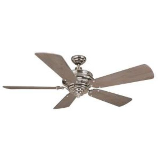 "Craftmade TS52PLN Townsend 52"" Ceiling Fan in Polished Nickel"