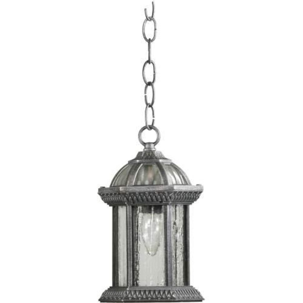Quorum #7814-72 Stelton - 1-Light Small Hanging Lantern, Rustic Silver Finish with Clear Glass