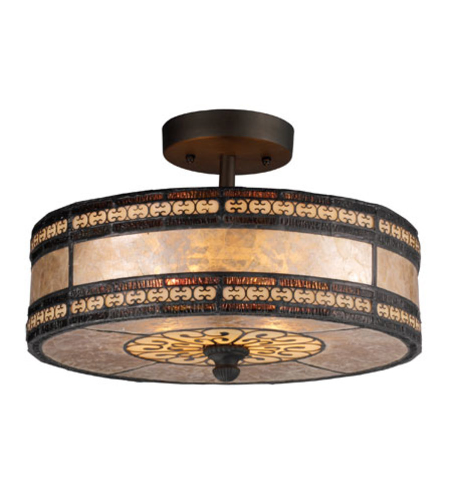 Elk Lighting Mica Filigree 2-Light Semi Flush Tiffany Bronze 70065-2